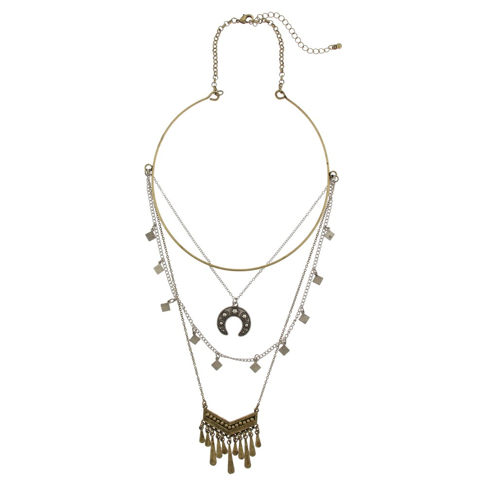 Womens 4 Layered Metal Necklace with Paddles and Casted U-Shape - Two Tone, Multi-Colored