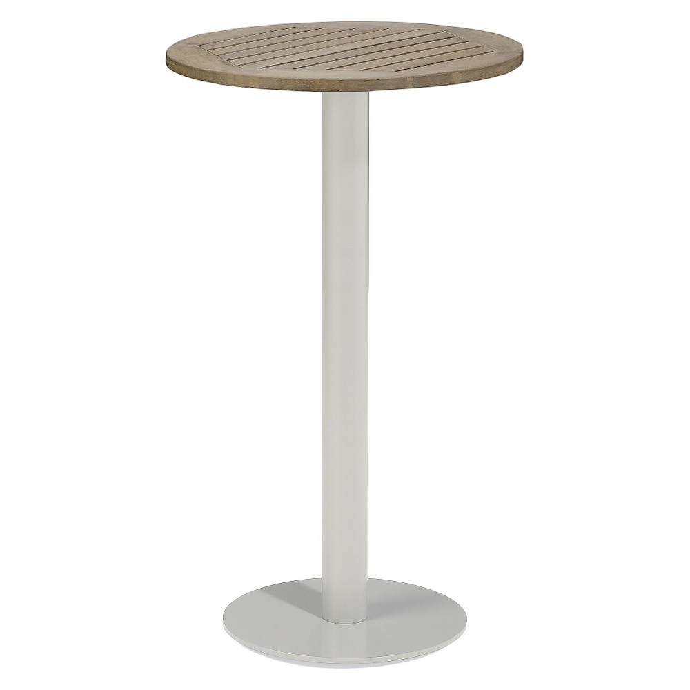 Travira Round Bar Table Powder Coated Aluminum Frame with Vintage Teakwood Top - Oxford Garden,  Vintage Tekwood Tabletop plus size,  plus size fashion plus size appare