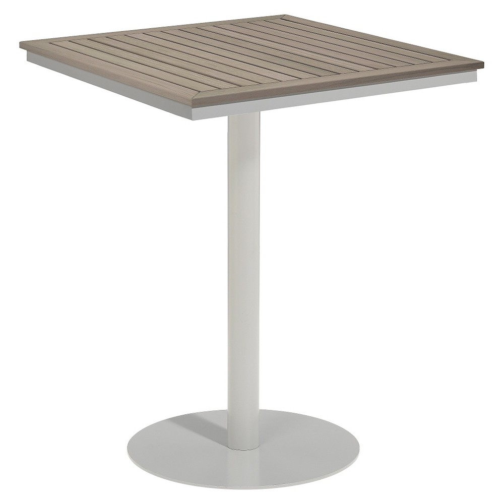 Travira 32 Square Bar Table - Powder Coated Aluminum Frame with Vintage Teakwood Top - Oxford Garden,  Vintage Tekwood Tabletop plus size,  plus size fashion plus size appare