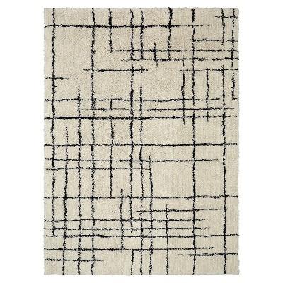 Linear Shag Area Rug Cream/Black (9' x 12')- Nate Berkus™