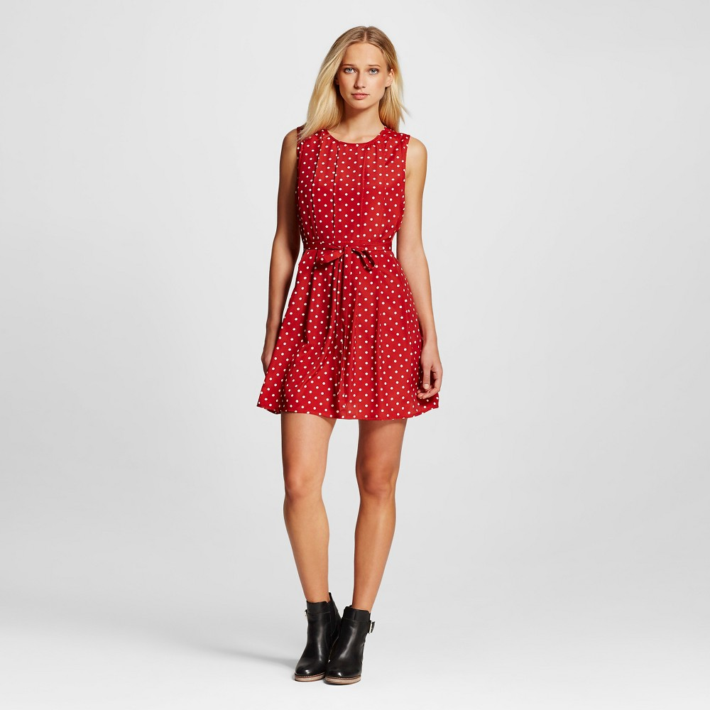 Women's Pleated Polka Dot Dress Red/White L – K by Kersh, Red White