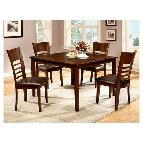miBasics 5pc Square Dining Table Set Wood/Brown Cherry : Target