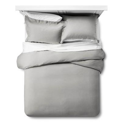 Linen Duvet Cover & Sham Set Queen - Gray - Fieldcrest™