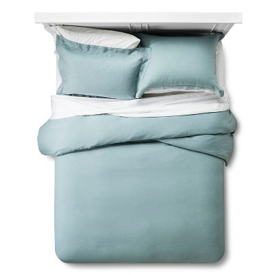 Linen Duvet Cover & Sham Set King - Aqua - Fieldcrest™