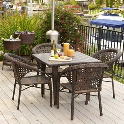 River 5pc Wicker Patio Dining Set - Brown - Christopher Knight Home