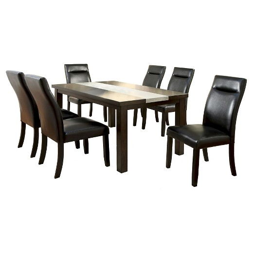 ioHomes 7pc Concrete Insert Table Top Dining Table Set WoodDark