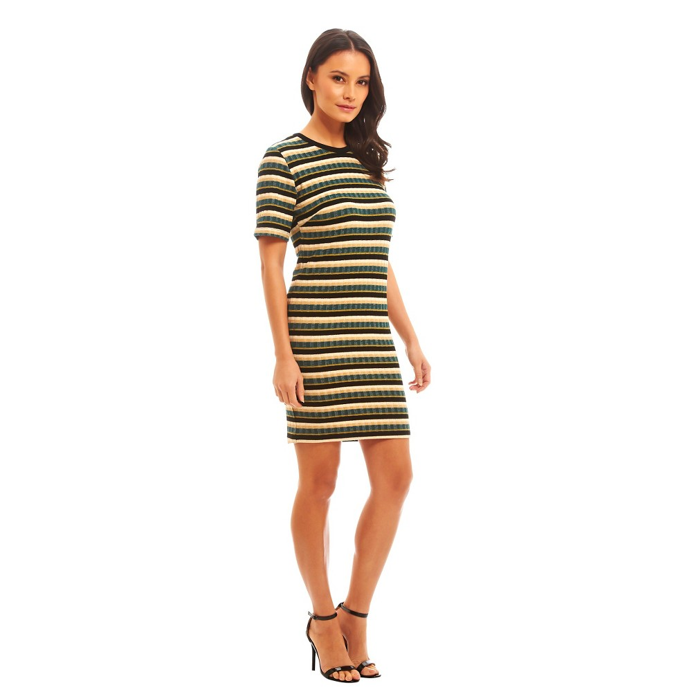 Women's Multi Stripe Ribbed Short Sleeve Dress - Fashion Union (Juniors'), Size: Large, Green