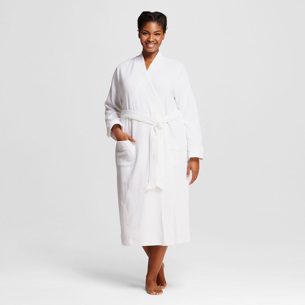 Plus Size Sleepwear Textu Knit Robe - White 1X,  Women's plus size,  plus size fashion plus size appare