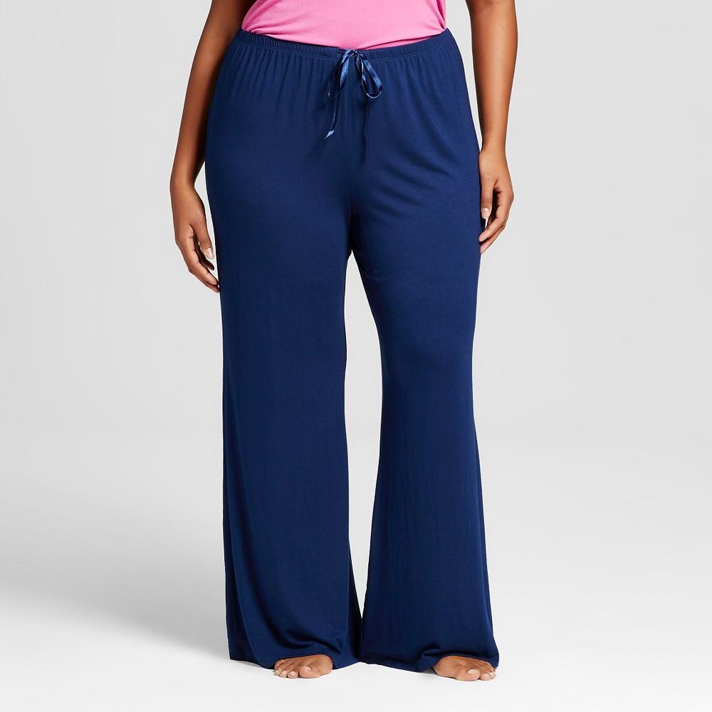 Plus Size Sleepwear Textu Knit Sleep Pants - Nighttime Blue 1X,  Women's plus size,  plus size fashion plus size appare