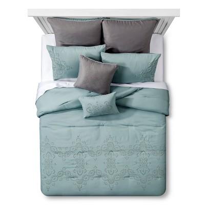 Blue Adella Eyelet Comforter Set (Queen)- 8 Piece