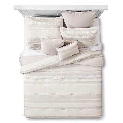 Natural Monteray Seersucker Striped Comforter Set (Queen)- 8 Piece