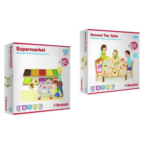 Scotchi Happy Kidz Children's Game Supermarket & Around the Table Game Set