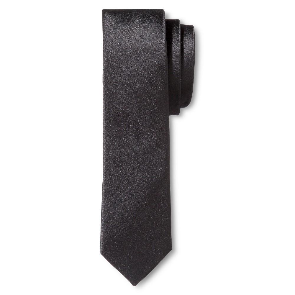 Mens Tie Black Skinny Solid - Merona