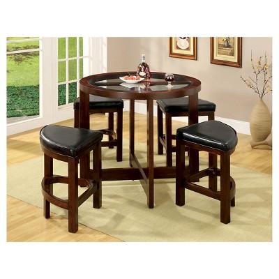 miBasics 5pc Glass Table Top Circle Dining Table Set Wood/Dark Walnut  Target  sc 1 st  Target & miBasics 5pc Glass Table Top Circle Dining Table Set Wood/Dark ...