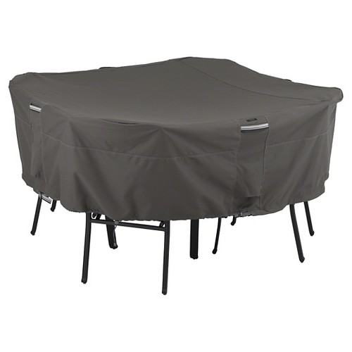Classic Ravenna Square Patio Table and Chairs Cover-Dark Taupe/Medium, Brown