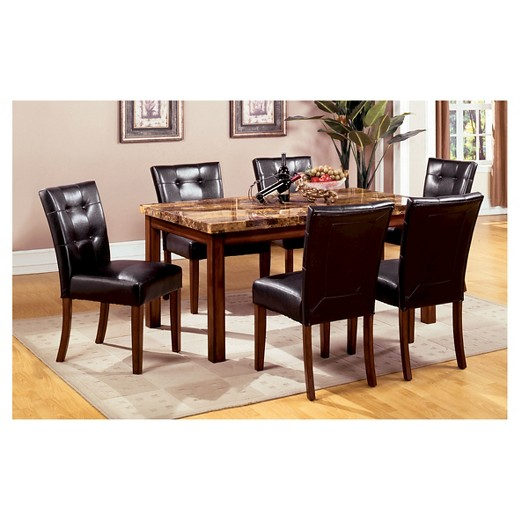 Sun pine 5pc faux marble top 48 dining table set wood for Dark wood dining set