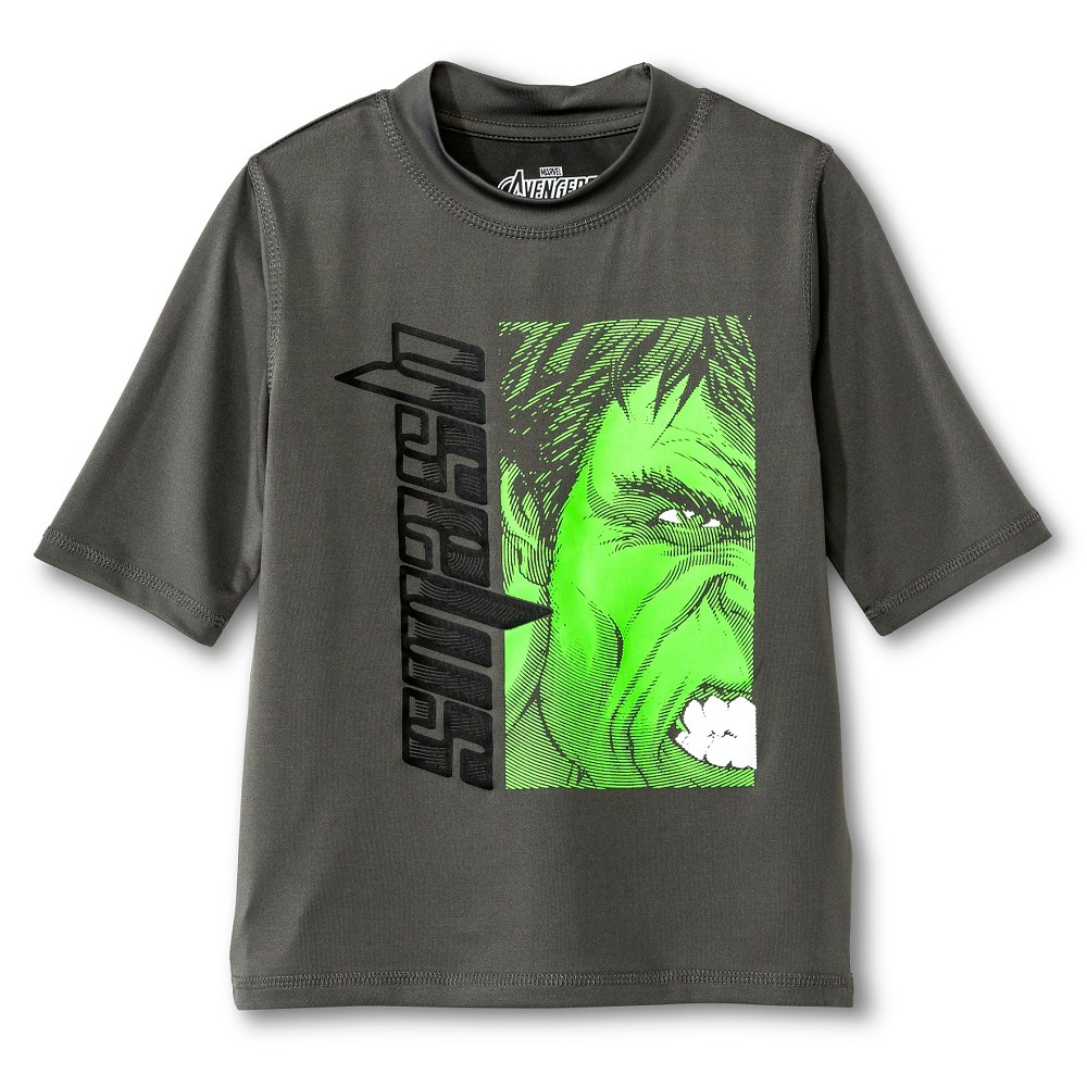 Boys Avengers Rashguard - Charcoal S, Gray