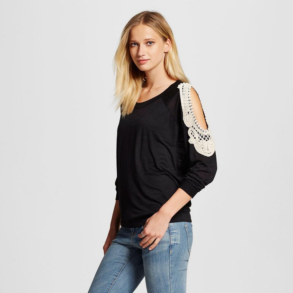 Womens Cold Shoulder Blouse - Cliché Black S