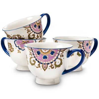 Rosana Medallion Stoneware Mugs 16oz Cream -<br> Set of 4