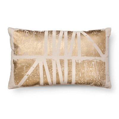 Gold Foil Oblong Throw Pillow White - Room Essentials™