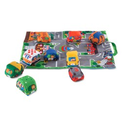 Melissa & Doug® Take-Along Town Play Mat (19.25 x 14.25 inches) With 9 Soft Vehicles