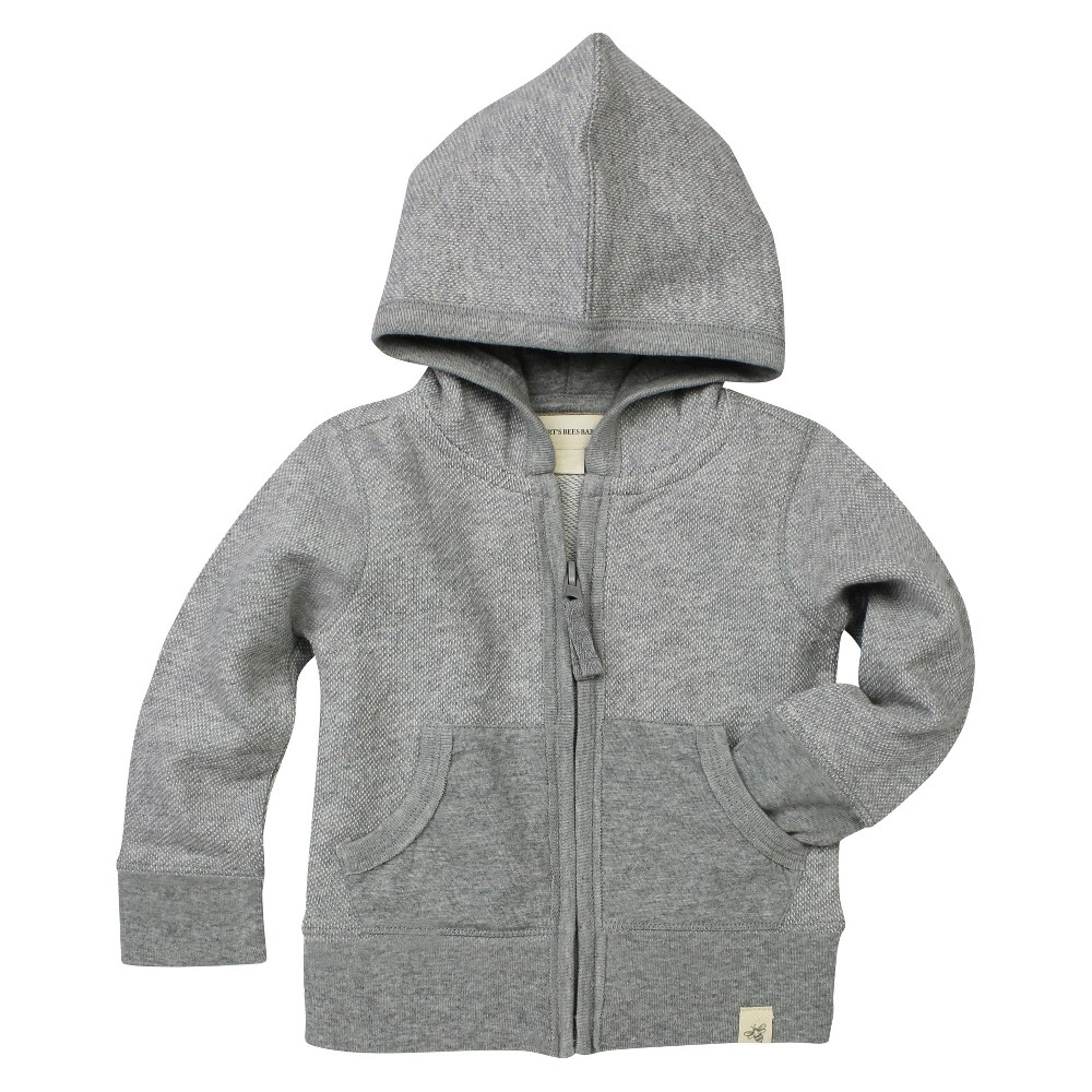 Burts Bees Baby Baby Boys Loose Pique Hoodie - Heather Gray 3-6 M