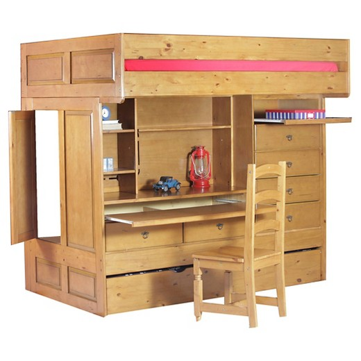 Wyatt kids bunk bed brown twin over twin powell for Target loft bed