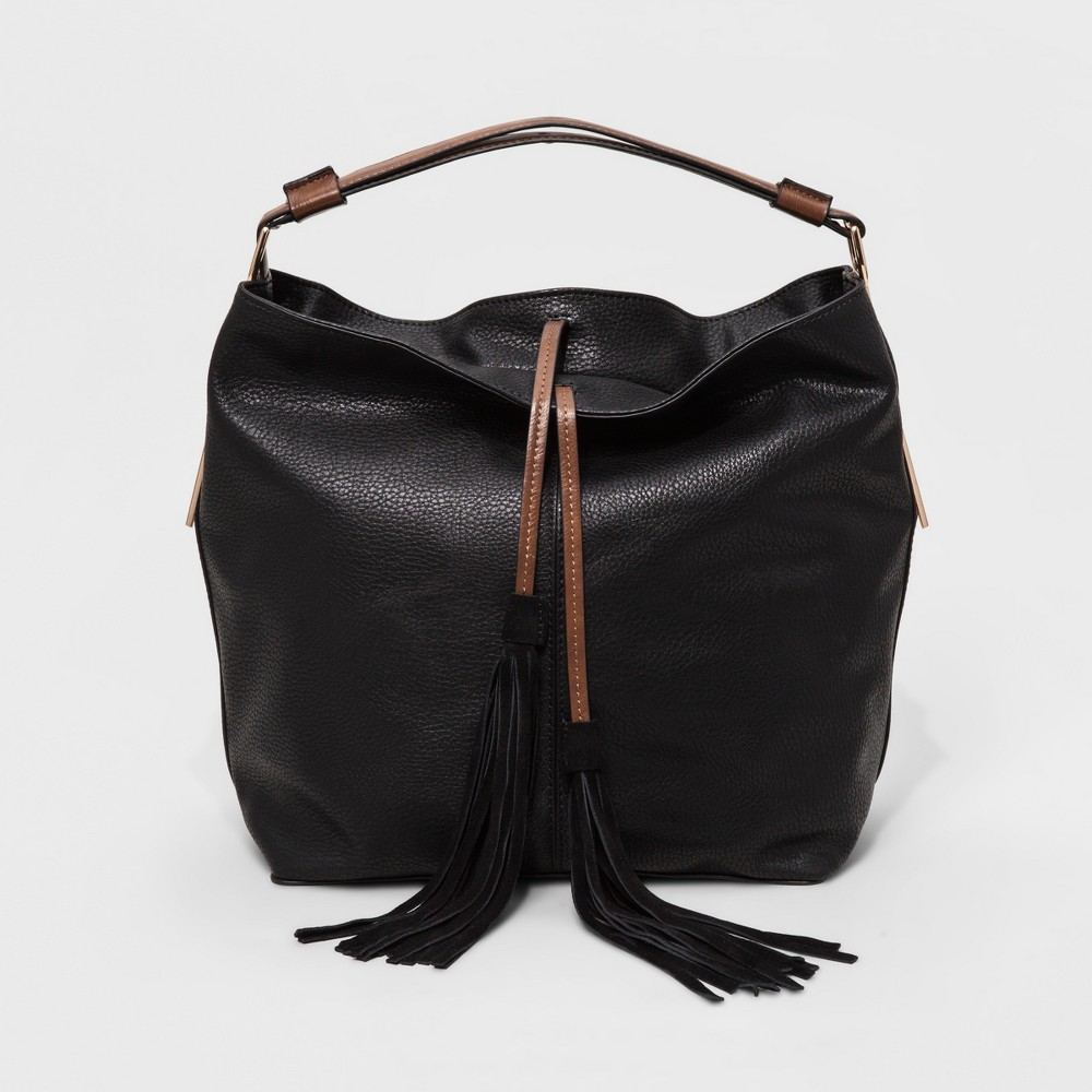 Womens Faux Leather Hobo Bag with Genuine Suede Tassel - Black
