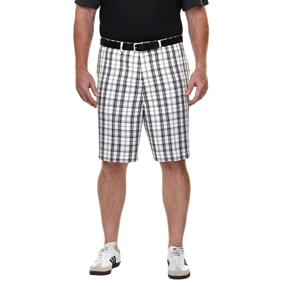 Haggar H26 - Mens Big & Tall Classic Fit Performance Shorts White Plaid 54