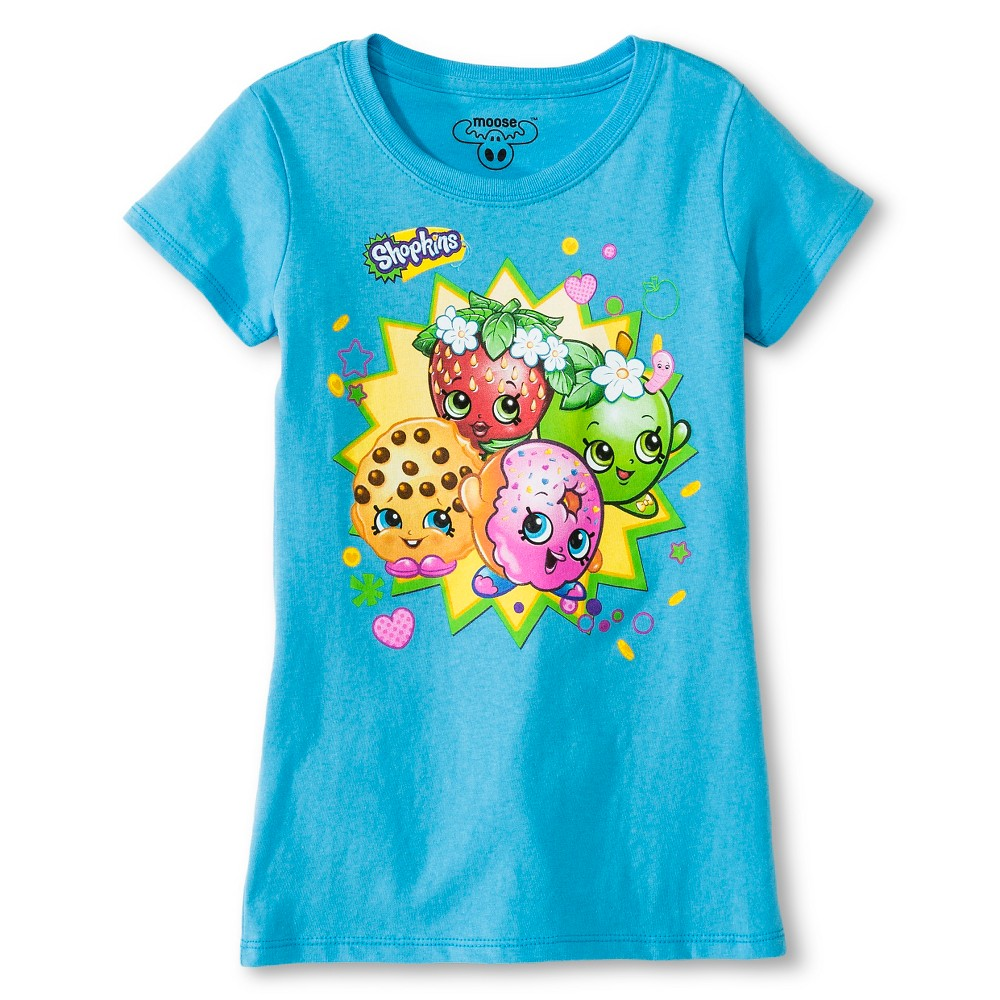 Girls' Shopkins T-Shirt – Turquoise L, Girl's, Blue
