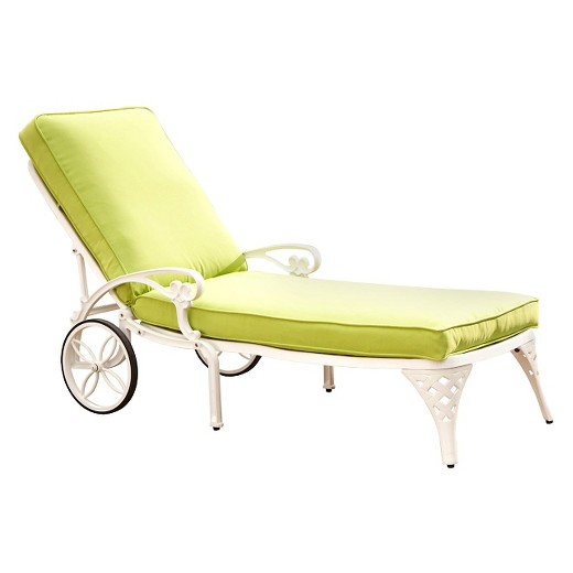 Biscayne White Chaise Lounge Chair and Green Apple Cushion Tar