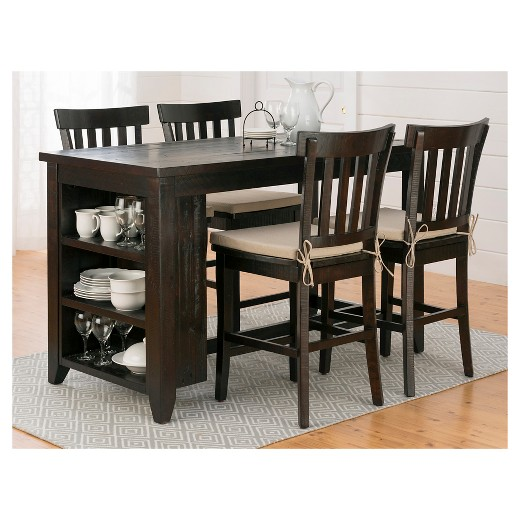 Prospect Creek Counter Height Table With 3 Shelf Storage Wood Coffee Jofran Inc