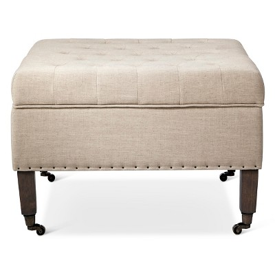 Large Tufted Ottoman with Casters - Cream