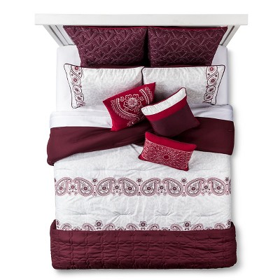 Saundra Embroidered Paisley Bed Set Queen 10 Piece - Red&White