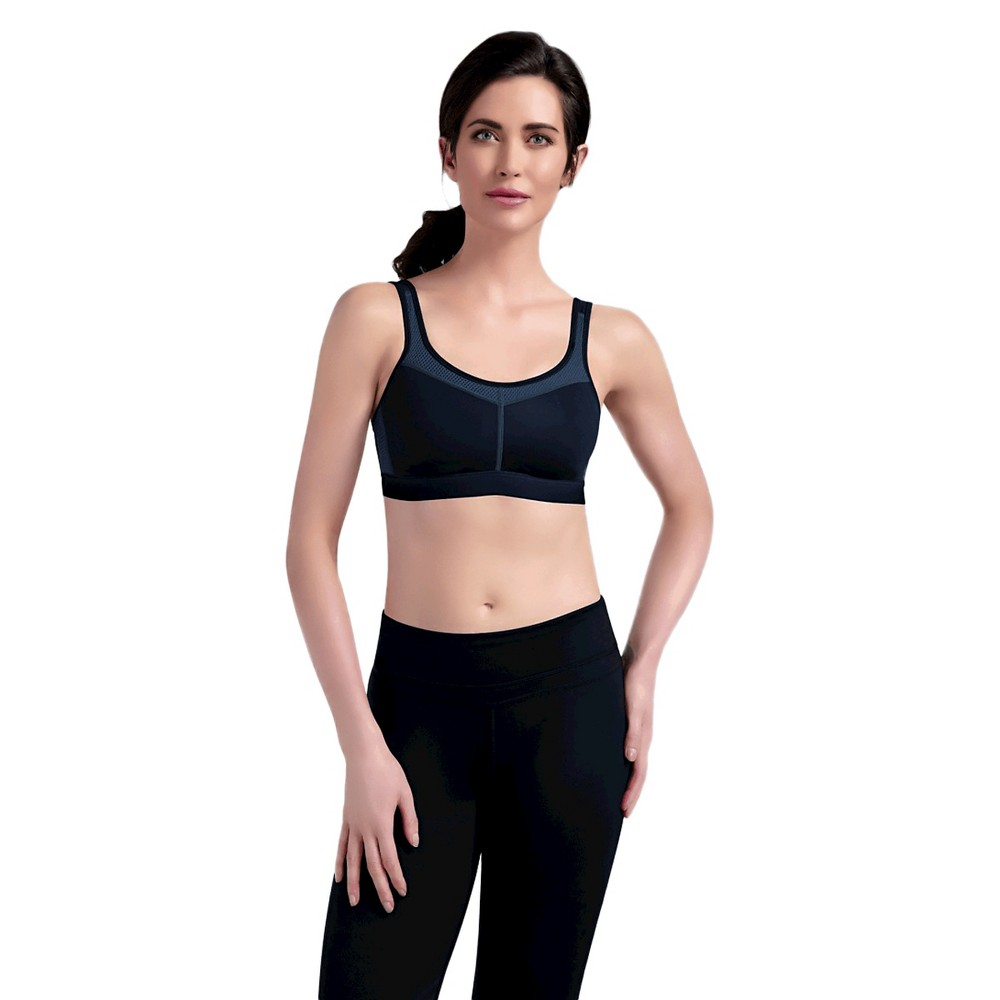 Amoena Women's Power Seamless Sports Bra - Black/Gray 34C