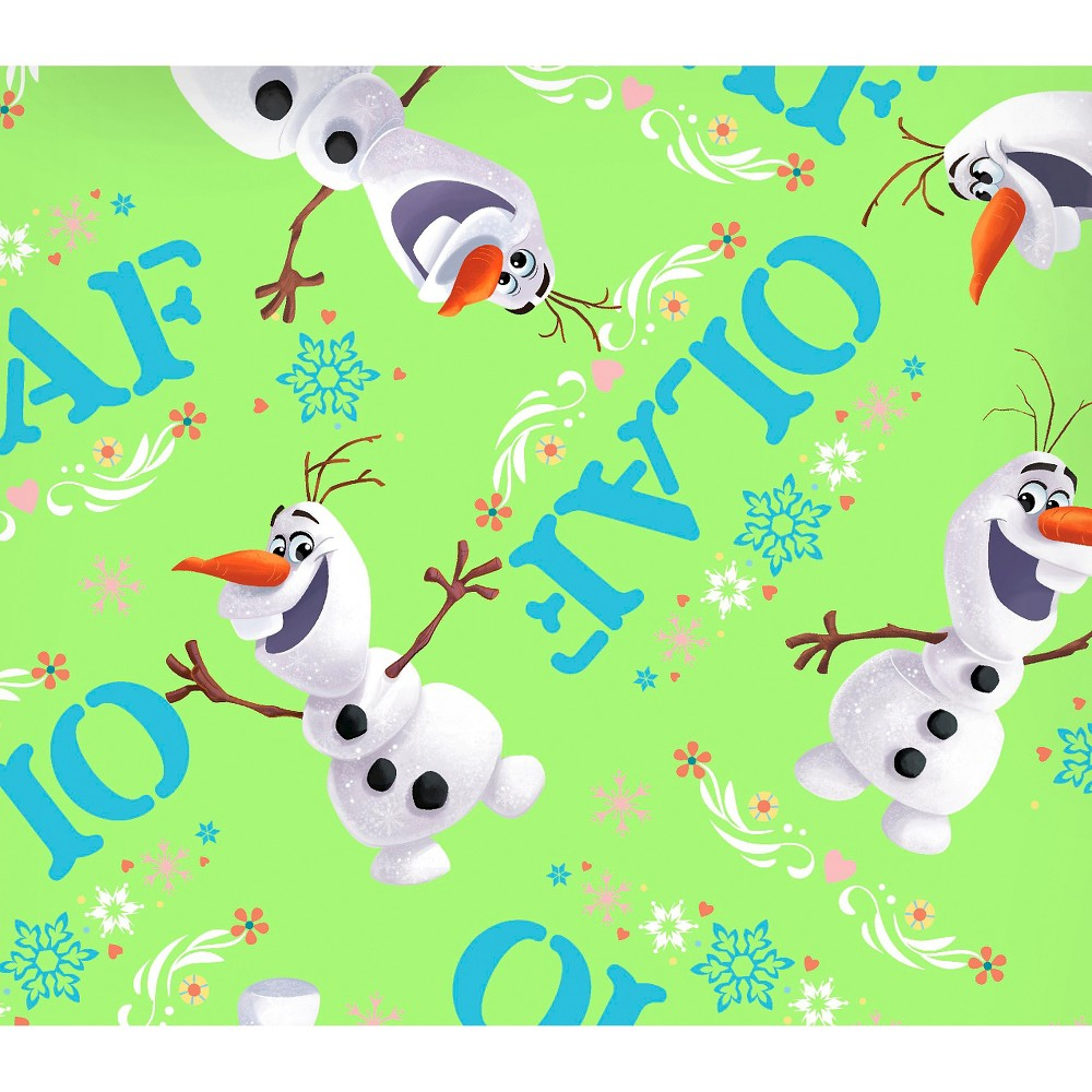 Disney Frozen Olaf Toss, Green, 100% Cotton, 43/44 Width, Fabric by the Yard