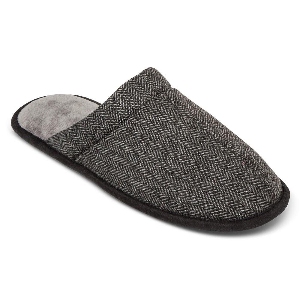 Impressions by Isotoner Mens HerringbOne Clog Slipper Ash XL, Gray