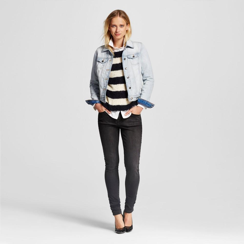 Womens Midrise Skinny Jeans - Mossimo Black Wash 8 Long