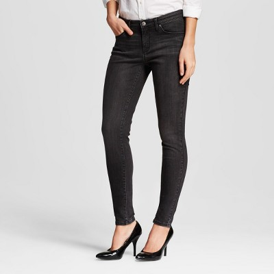 Women's Mid-rise Skinny Jeans Black Wash 12 Regular - Mossimo