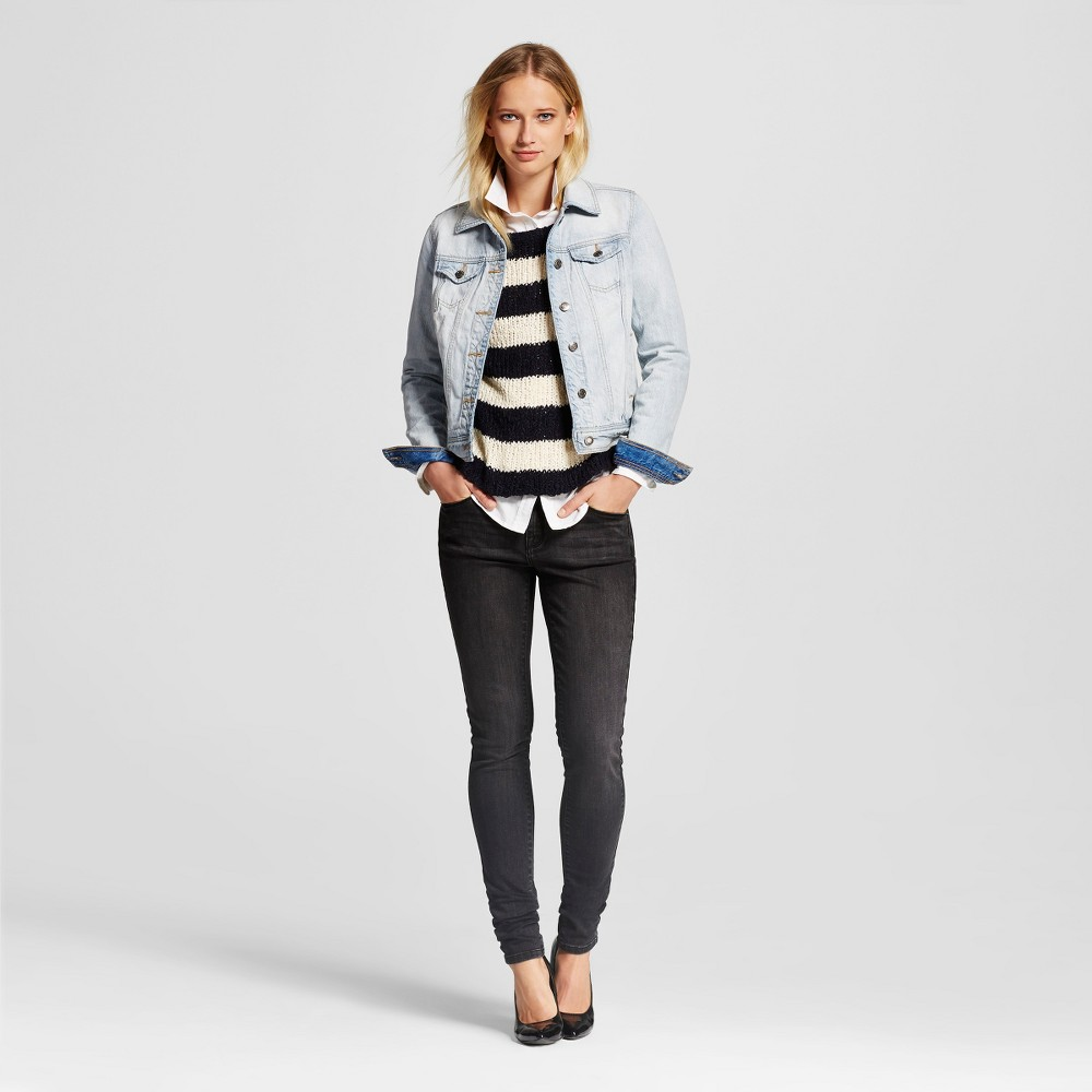Womens Midrise Skinny Jeans - Mossimo Black Wash 14 Short