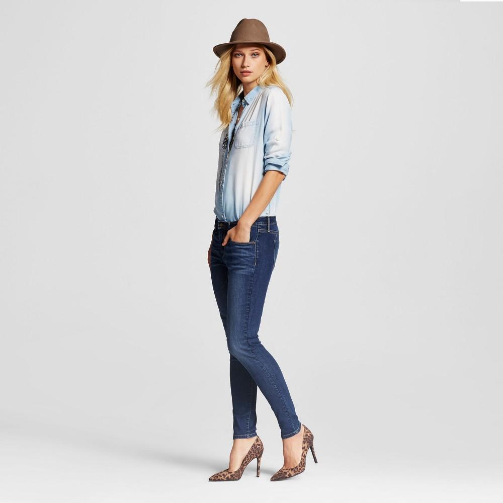 Womens Midrise Skinny Jeans - Mossimo Dark Wash 0 Short, Blue