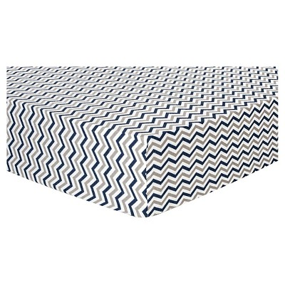 Trend Lab Deluxe Chevron Flannel Fitted Crib Sheet - Navy and Gray
