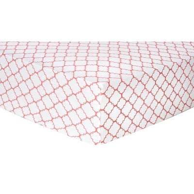 Trend Lab Deluxe Quatrefoil Flannel Fitted Crib Sheet - Coral