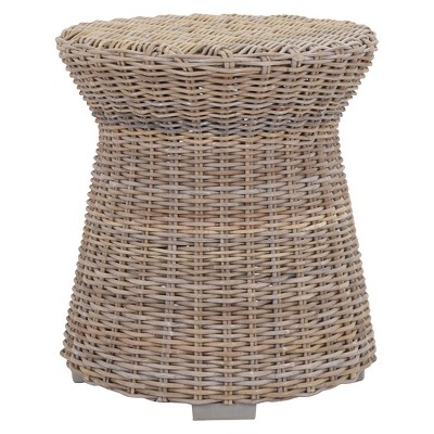 Seascape Driftwood Rattan Side Table   Tan   Jeffan