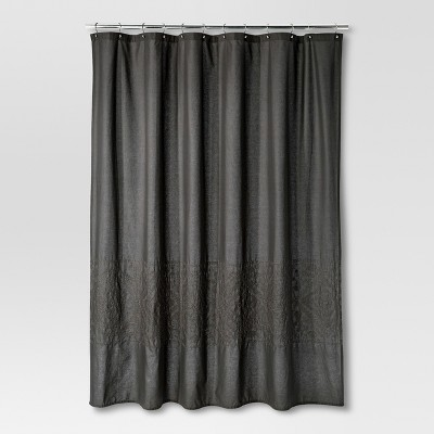 Dark Gray Embroidery Shower Curtain - Threshold™