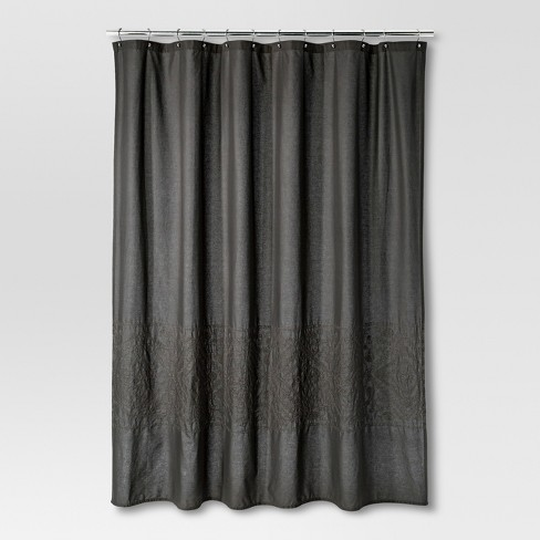 Dark Gray Embroidery Shower Curtain