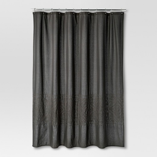 dark grey shower curtain. Dark Gray Embroidery Shower Curtain  Threshold Target