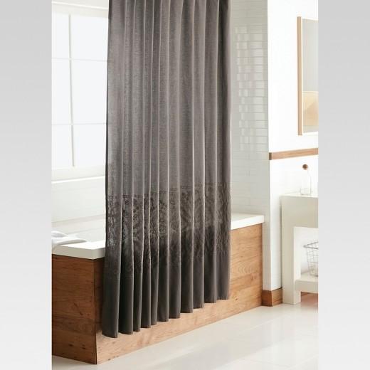 Dark Gray Embroidery Shower Curtain - Threshold™ : Target