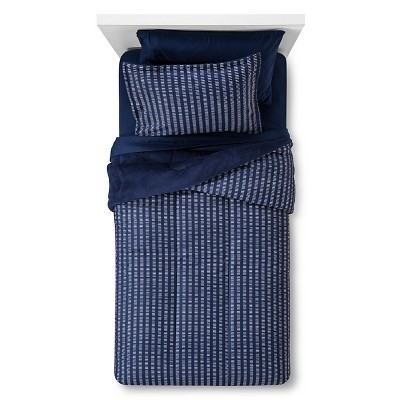 Bedding Set Plush Printed Stripe Full Navy - Room Essentials™