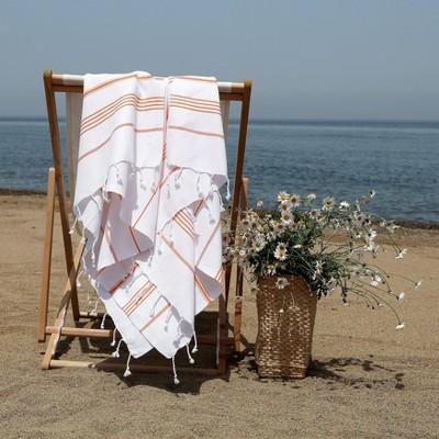 Lucky Pestemal Beach Towel White Dark Orange